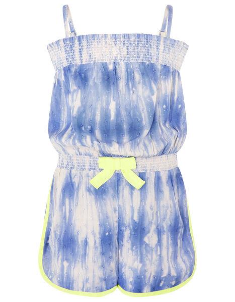Cassia Tie Dye Playsuit Blue, Blue (BLUE), large