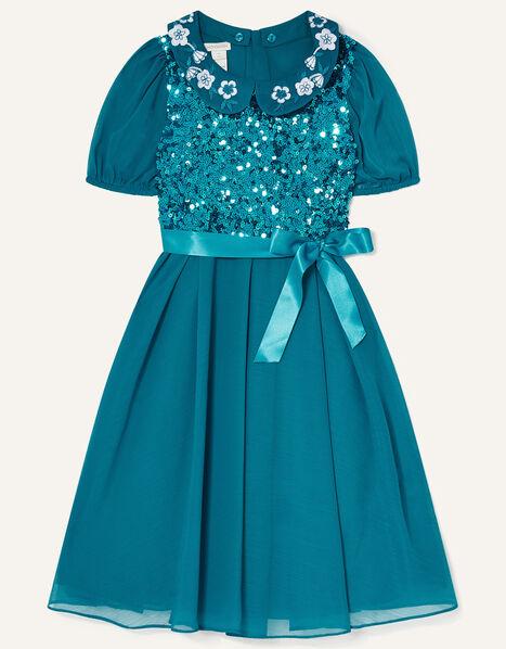 Gigi Embroidered Collar Sequin Dress Teal, Teal (TEAL), large