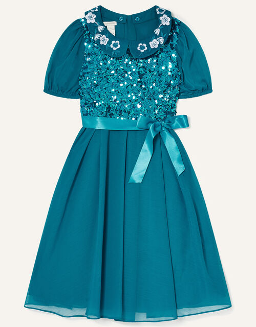 Gigi Embroidered Collar Sequin Dress, Teal (TEAL), large