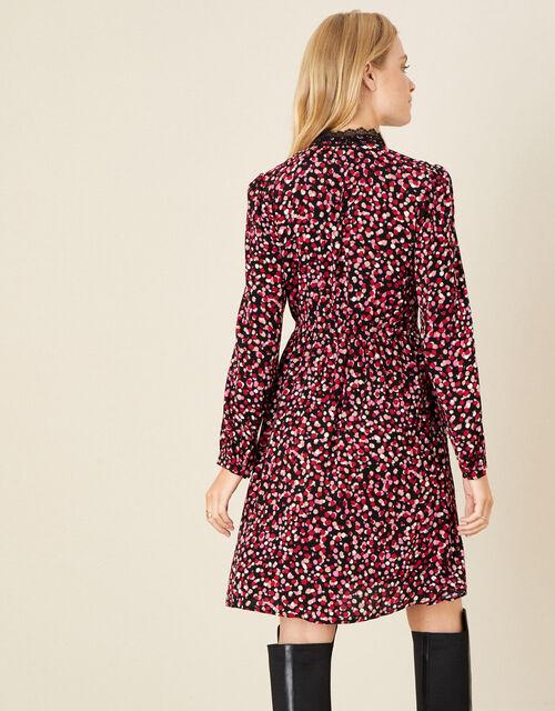 Spot Print Lace Trim Dress, Pink (PINK), large