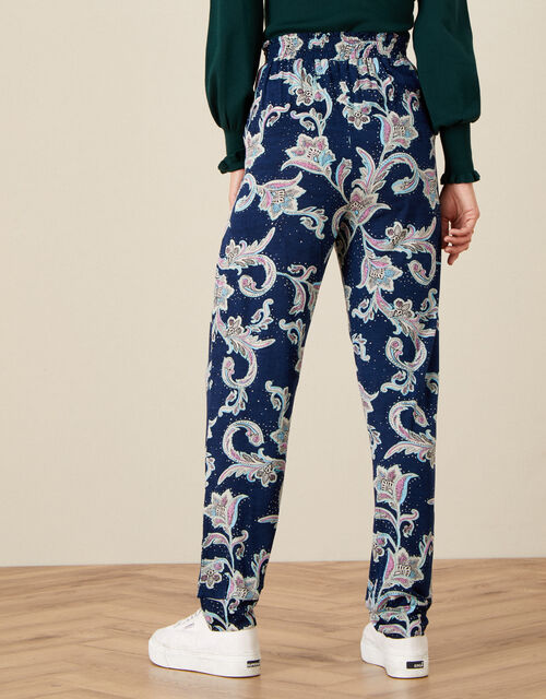 Paisley Print Jersey Trousers, Blue (NAVY), large
