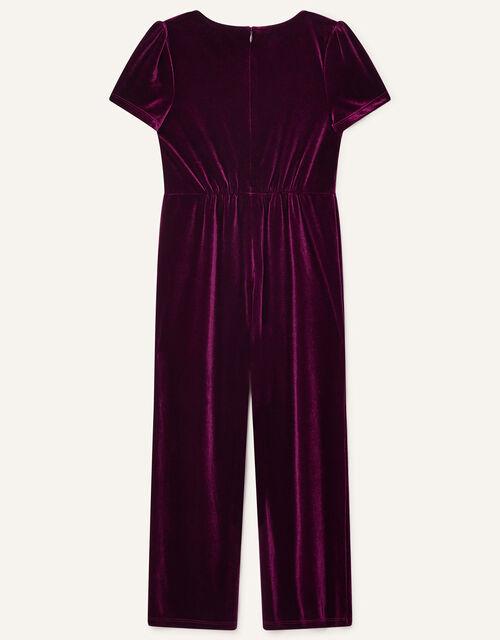 Stretch Velvet Jumpsuit, Red (BURGUNDY), large