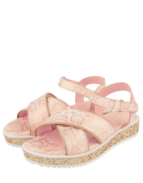 Shimmer Snake Flatform Sandals, Pink (PALE PINK), large