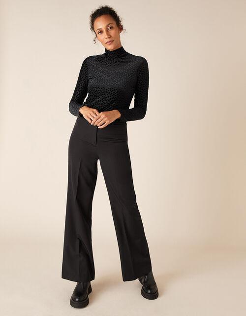 Stretch Devore Long-Sleeve Top, Black (BLACK), large