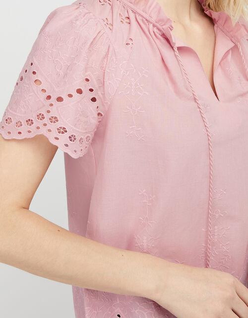 Suzie Schiffli Top in Organic Cotton, Pink (PINK), large