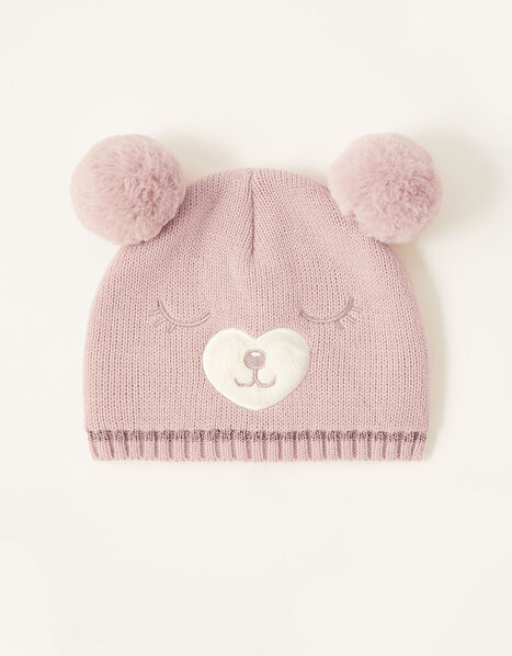 Florrie Pom-Pom Bear Beanie Pink, Pink (PINK), large