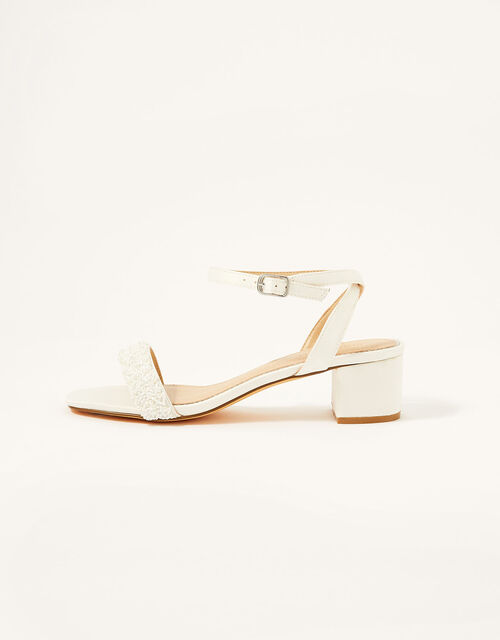 Low Heeled Beaded Strap Bridal Sandals , Ivory (IVORY), large