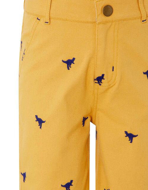 Evan Embroidered Dinosaur Shorts, Yellow (MUSTARD), large