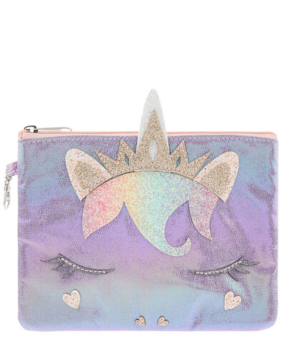 Lila Shimmer Unicorn Pouch Bag, , large