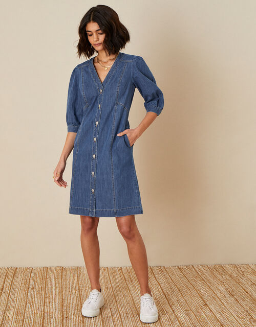 Puff Sleeve Denim Dress, Blue (DENIM BLUE), large