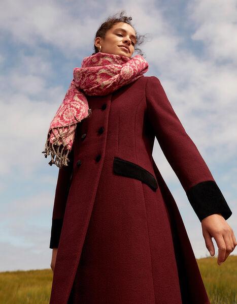 Velvet Trim Skirted Coat Red, Red (BERRY), large