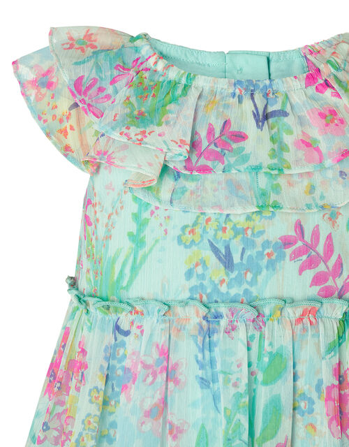 Baby Bonita Floral Tiered Dress in Recycled Polyester, Blue (AQUA), large