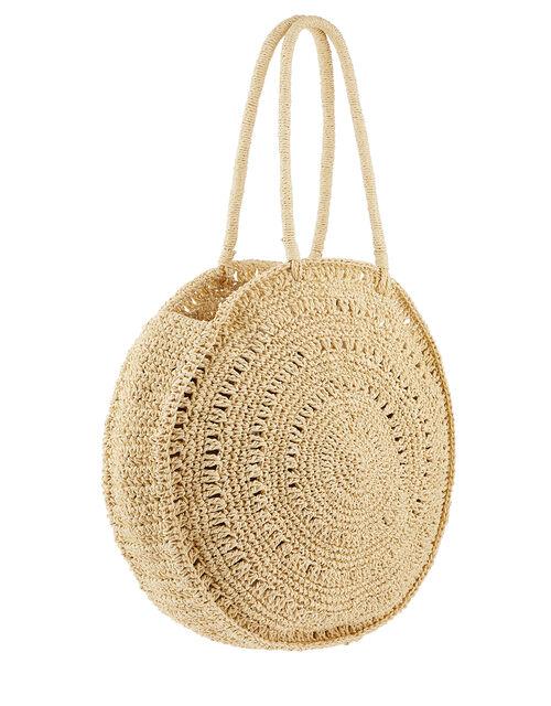 Patty Circular Tasselled Straw Bag, , large