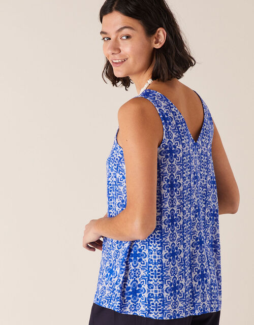 V-Neck Printed Cami in LENZING™ ECOVERO™, Blue (BLUE), large
