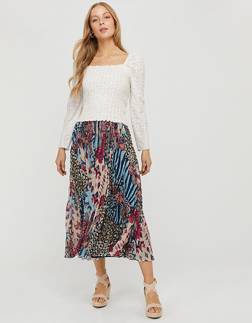 Mercy Mixed Print Pleated Skirt, Blue (BLUE), large