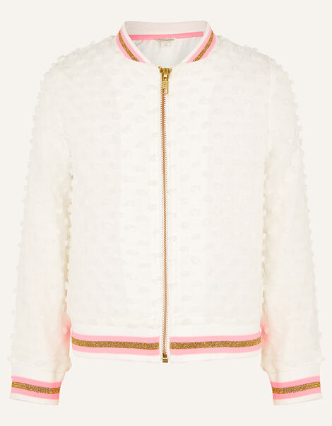 Bobble Bomber Jacket White, White (WHITE), large