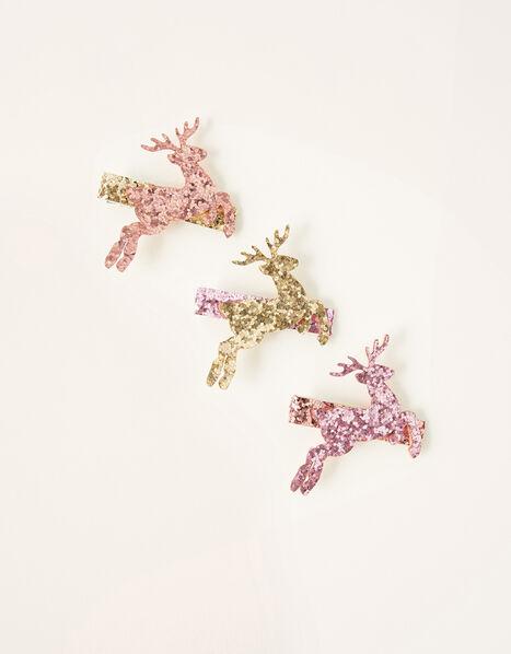 Leaping Reindeer Hair Clip Set, , large