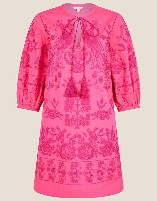 ARTISAN STUDIO Embroidered Kaftan Dress, Pink (PINK), large