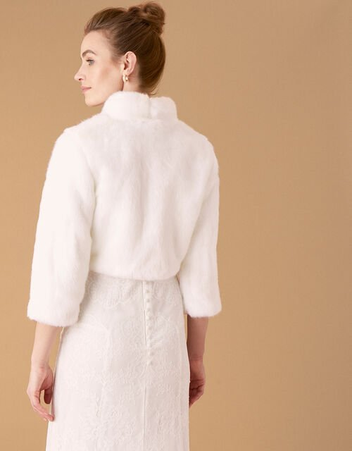 Maria Faux Fur Bridal Jacket, Ivory (IVORY), large