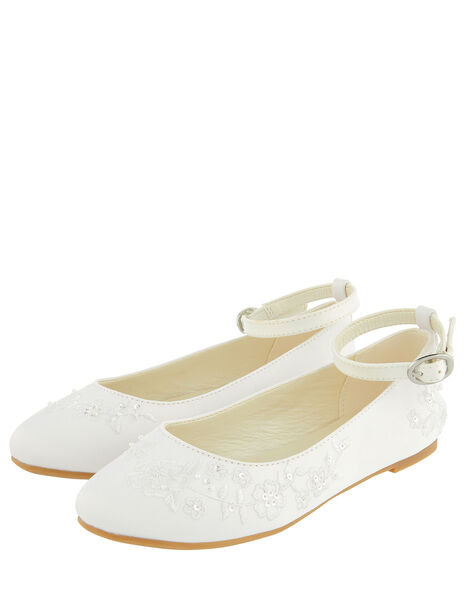 COMMUNION Embroidered Satin Ballerina Flats White, White (WHITE), large
