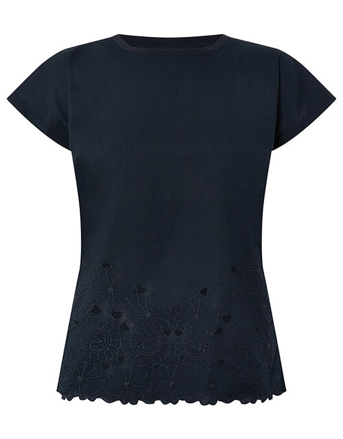 Kumar Floral Hem T-shirt in Organic Cotton, Blue (NAVY), large