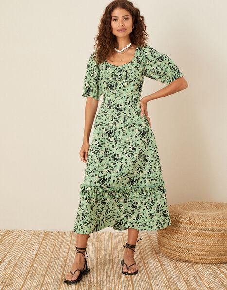 Printed Dress in Linen Blend Green, Green (KHAKI), large