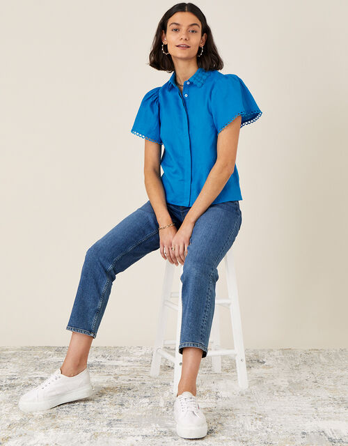 Lace Collar Shirt in Linen Blend, Blue (BLUE), large