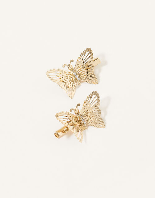 Diamante Butterfly Hair Clips, , large