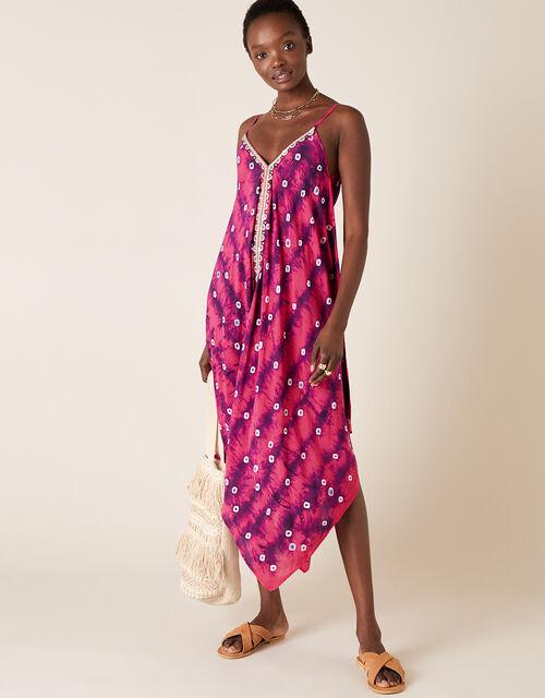 Sequin Embroidered Tie-Dye Dress, Purple (PURPLE), large