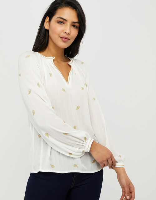Pia Embroidered Blouse in LENZING™ ECOVERO™, Ivory (IVORY), large