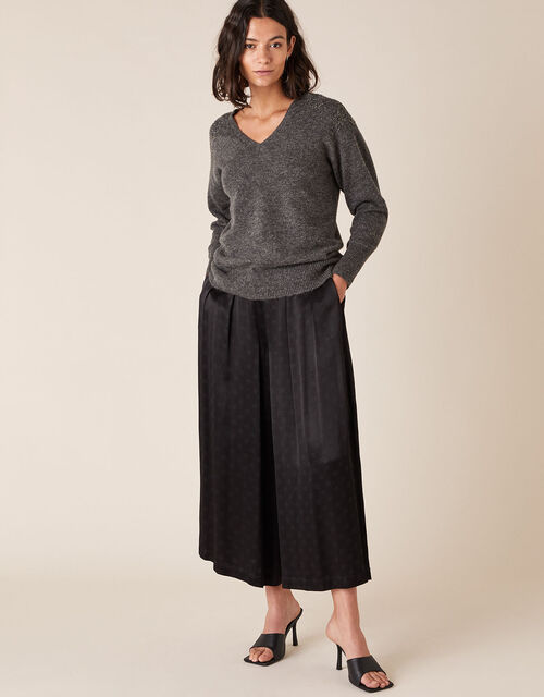 Floral Bead Knit Jumper with Recycled Fabric, Grey (CHARCOAL), large