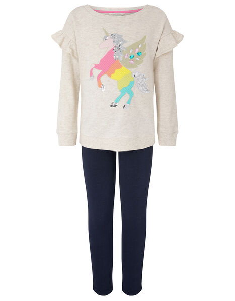 Unicorn Sweatshirt Set in Organic Cotton Camel, Camel (OATMEAL), large