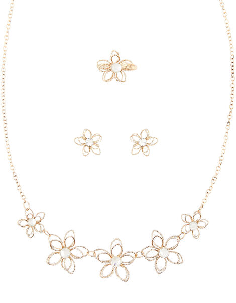 Glimmer Wire Flower Jewellery Set , , large