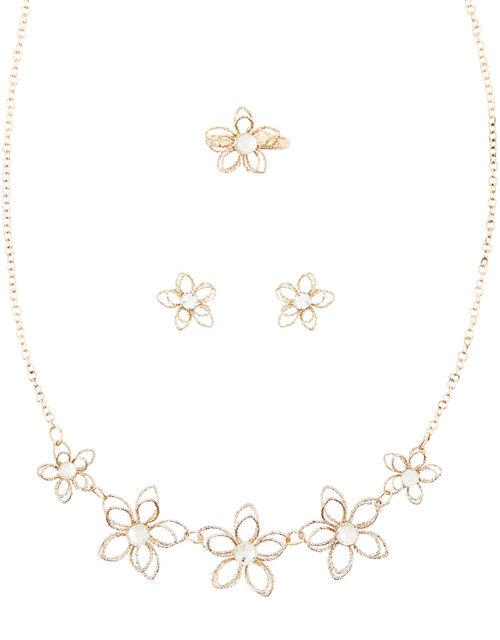 Glimmer Wire Flower Jewellery Set , , large