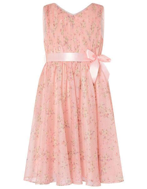 Ditsy Print Pleated Dress Pink, Pink (PALE PINK), large