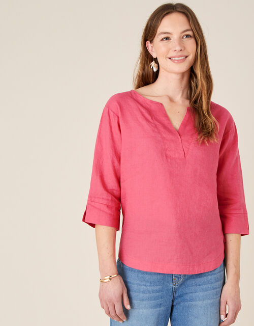 Daisy Plain T-Shirt in Pure Linen, Red (RED), large