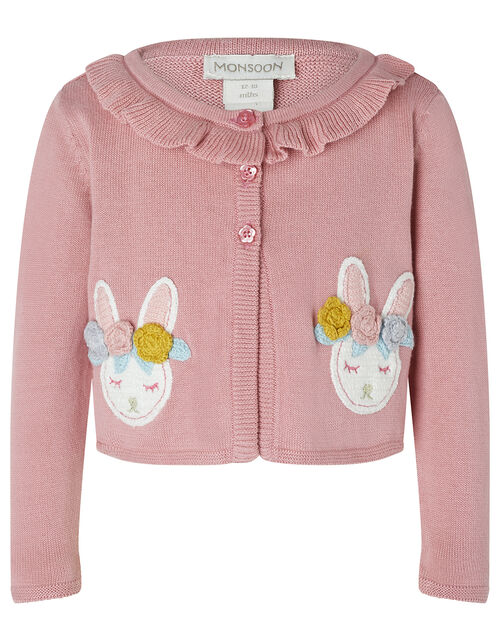 Baby Crochet Bunny Cardigan in Organic Cotton, Pink (PINK), large