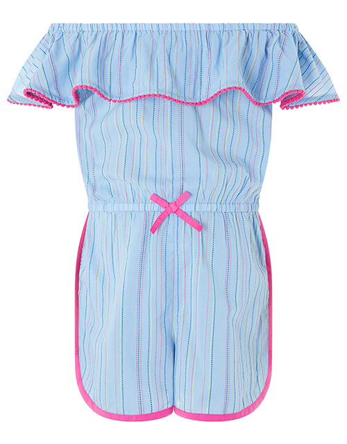 Bella Stripe Chambray Playsuit, Blue (BLUE), large