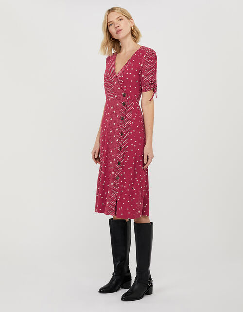 Sarai Star Print Jersey Midi Dress, Red (RED), large