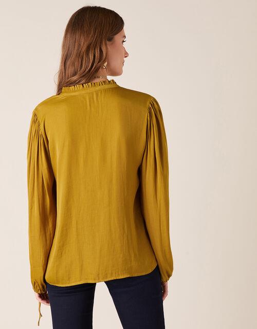 Long Sleeve Satin Blouse, Yellow (OCHRE), large