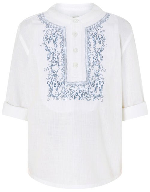 Kurta Embroidered Shirt in Pure Cotton, Blue (BLUE), large