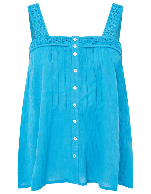Lace Trim Cami Top in Organic Cotton, Teal (TEAL), large