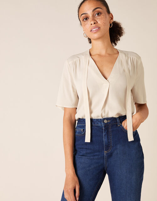 Tie Front Short Sleeve Top with LENZING™ ECOVERO™, Cream (CREAM), large