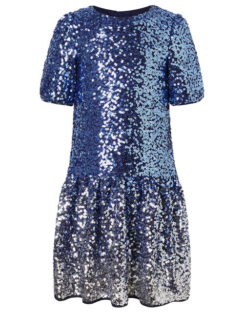 Ombre Sequin Drop Waist Dress, Blue (BLUE), large