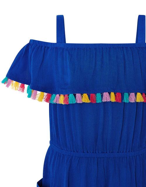Marley Bardot Tassel Playsuit in LENZING™ ECOVERO™, Blue (BLUE), large