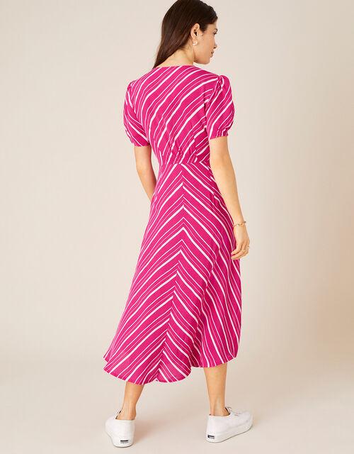 Narla Stripe Print Midi Dress , Red (BERRY), large