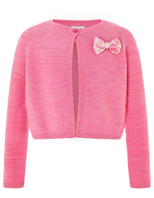 Penny Sparkle Knit Cardigan with Sequin Bow, Pink (PINK), large