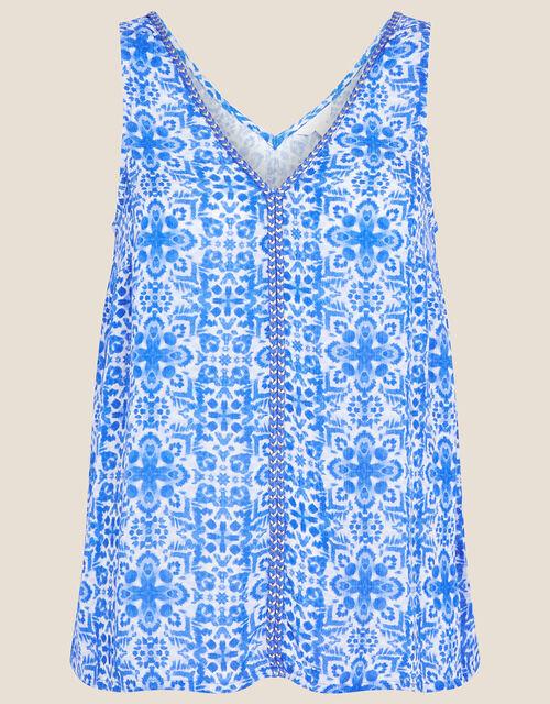 Zuri V-Neck Printed Cami , Blue (BLUE), large