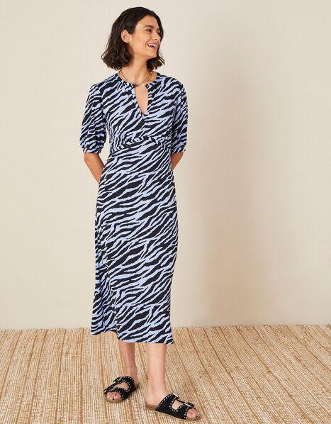 Animal Print Jersey Midi Dress Blue, Blue (BLUE), large