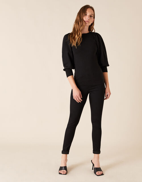Crystal Button Jumper with Recycled Fabric, Black (BLACK), large